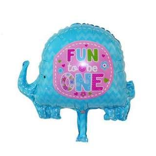 Elephant balloon first birthday (handheld)