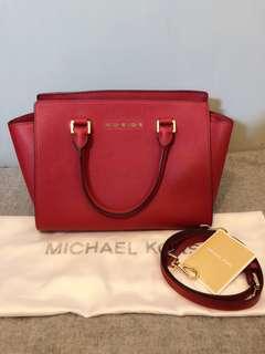 Michael Kors Selma Saffiano Leather Medium Satchel 經典 中號 袋