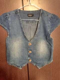 Outer vest rompi jeans blue