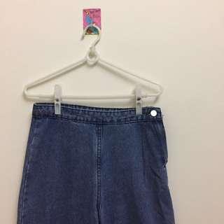 韓版 牛仔側釦寬闊褲