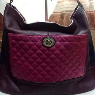 authentic coach quilted two color tote bag