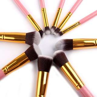 10pcs Pink Gold Brush Set
