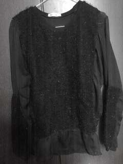 Outer hitam bulu fur sweater