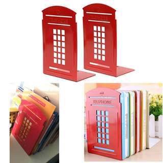 Bookends Telephone Booth Non-Slip Metal Durable Sturdy Books Organizer