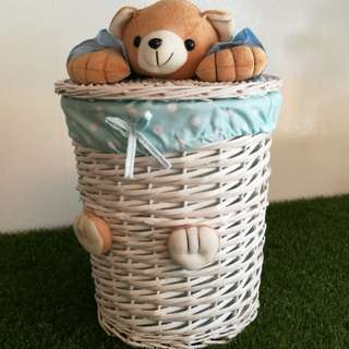 White basket with cover