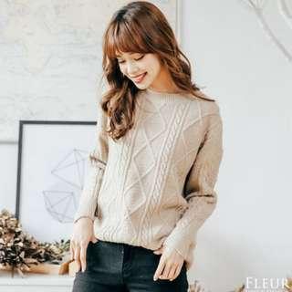 FLEUR 推薦!圓領簡約日系麻花織紋 針織 長袖毛衣 米色 韓國連線 正韓空運 歐美時尚