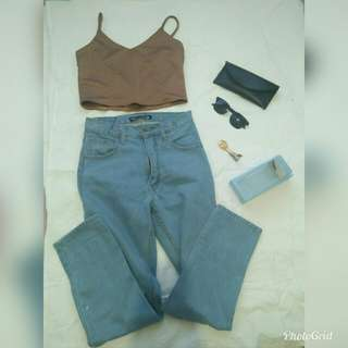 Crop top+punny high-waisted pants size 27