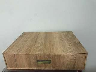 Single tier document drawer with wooden texture