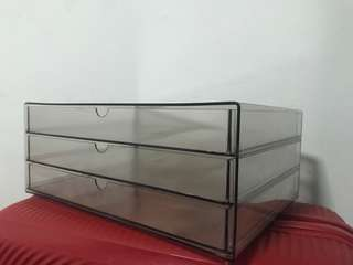 Transparent 3-tier acrylic plastic document drawer