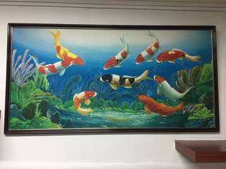 Oil Painting- Feng shui fish art