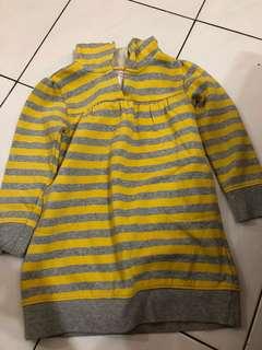 Old navy yellow stripe long hoodie Sweater