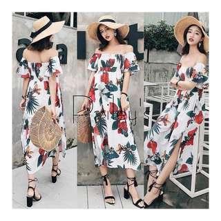 Off-shoulder Floral Maxi Dress
