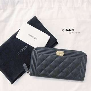 CHANEL Boy Zip Around Wallet