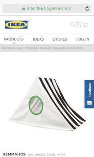 Ikea  Hemmahos Bed Canopy, black/ white, Bed Tentage For Kids / Pets