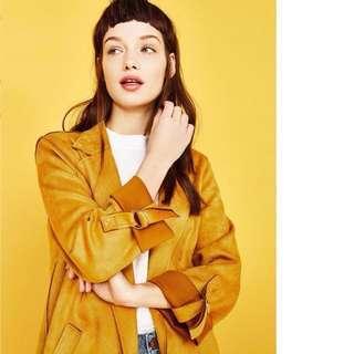 OshareGirl 03 歐美純色麂皮絨外套長版外套