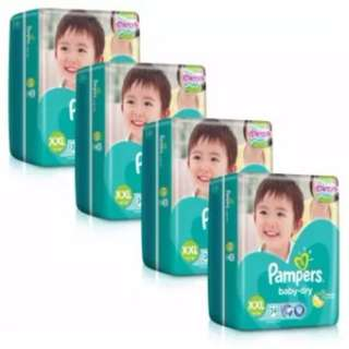 Pampers Baby Dry Diapers XXL34 (14kg+) x 4 Pack