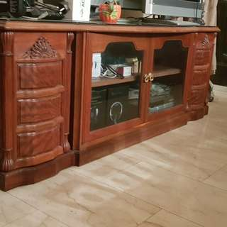 Solid rosewood TV console with glass top