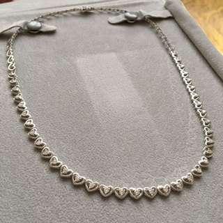 750 18K白金天然鑽石心型項鍊 1卡63分 共36粒石