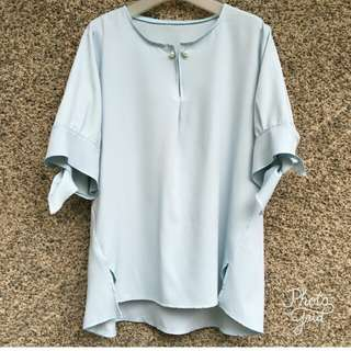 Blue tie knot sleeves blouse top