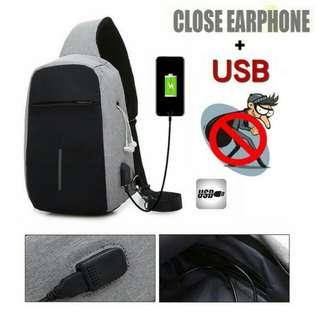 Premium anti theft sling bag USB earphone hole / tas selempang pria anti maling