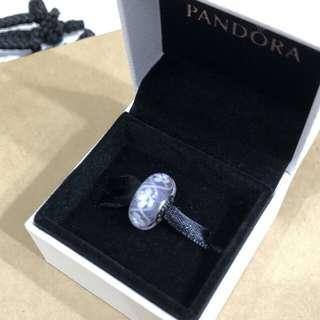 Pandora 紫色白花琉璃珠