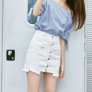 Denim White Coloured Buttons Down Korean Style Skirt