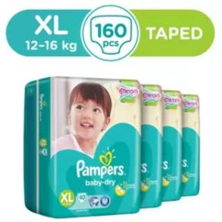 Pampers Baby Dry Diapers Size XL40 x 4 Pack