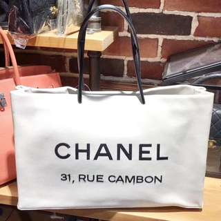 Chanel 白色羊皮Shopping Tote Bag