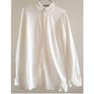 *100% Authentic*90%new* 正版英國 U.K. Mulberry 女裝 米白色 小樹暗花 長袖 恤衫 UK Size 8 Female Ivory White Blouse Shirt long sleeve tree print (面試 見工 上班 interview work)