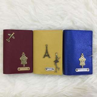 Personalised Passport Holder Customised Passport Cover Metallic Saffiano Blue / Saffiano Yellow / Saffiano Burgundy - Multi colours & many charms to choose from. FREE SHIPPING