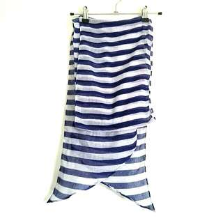 H&M Blue and White Stripes Scarf