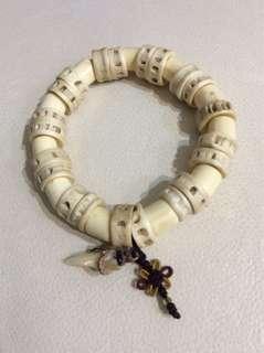 Thai Barang amulet -Bracelet made of elephant bone, fish bone with shark teeth