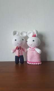 Cute rabbit wedding couple