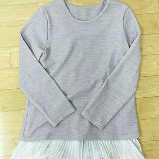 藕色長版蕾絲毛衣