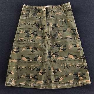 🌴軍綠非洲動物迷彩印花短裙 女款Vintage 二手古著
