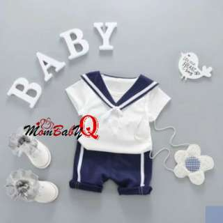 Sailor Design 2-piece Short-sleeve T-shirt and Shorts Set for Baby