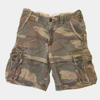 A&F 重磅 迷彩 洗舊感 短褲 L