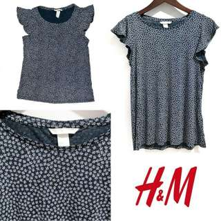 H&M Flounce Navy Top
