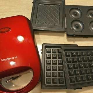 伊瑪三合一熱壓土司機,鬆餅機,熱壓飯糰機