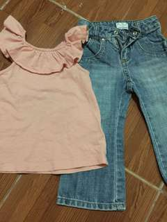 Old navy ambel pants and peach sleeveless top