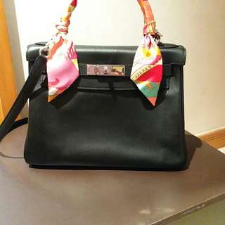Authentic Hermes Black Swift Kelly 28cm