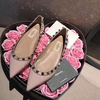 Valentino Flats鉚釘平底五色