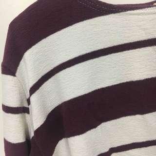 酒紅條紋薄針織衣