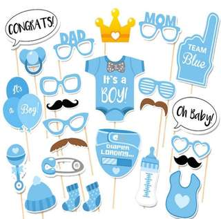 Photo Booth It Is A Boy Baby Shower Birthday Party Photo Booth Props Newborn Boy Photobooth Props 1st Birthday Baby shower Blue