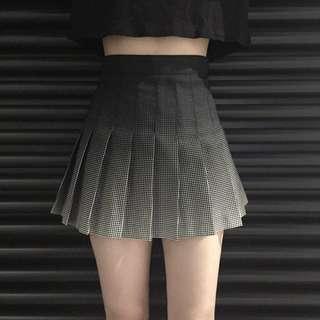 复古百褶裙漸變印花格子高腰短裙a字裙