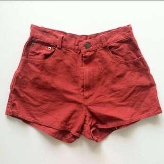 Red Denim Shorts Pants
