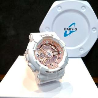 * FREE DELIVERY * Brand New 100% Authentic Casio BabyG White & Rose Gold Dial Baby G Ladies Watch Baby-G BA110 7A1 BA110-7A1DR