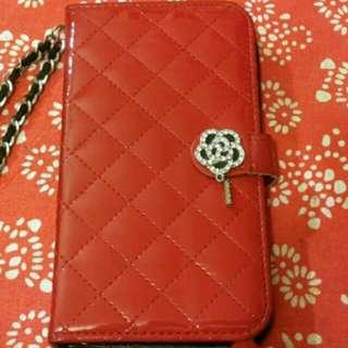 紅色菱格缀閃水晶花Samsung Note 3 電話套