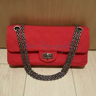 Chanel red jersey east/west bag