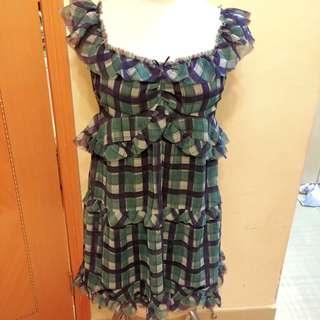 全新原價$2090 rosebullet 雪紡格仔 綠藍色 連身裙 日本 japan 日牌